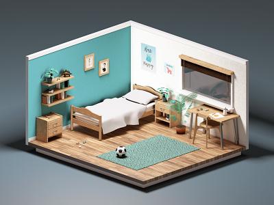 3D Bedroom model 3d bedroom home interior cinema 4d c4d