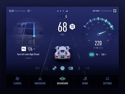 Car Dashboard UI Concept | Motion 3d self driving motion driving car dashboard navigation electric ui dashboard car