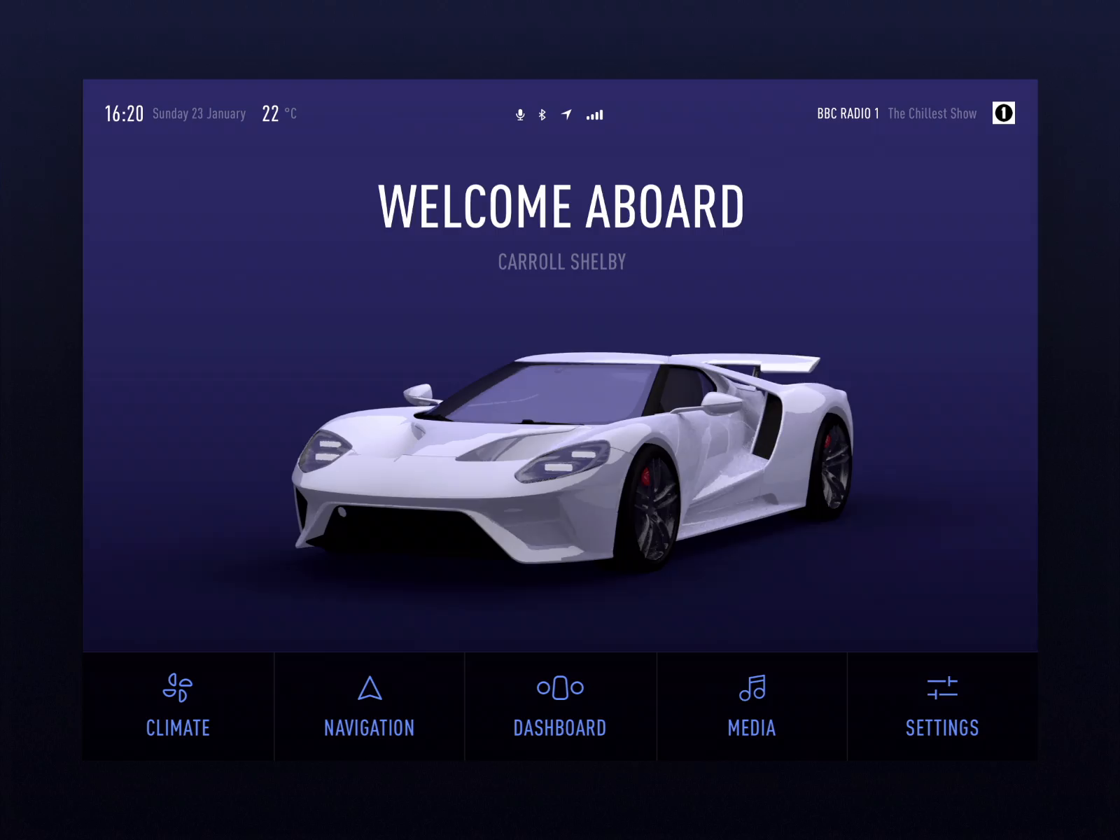 Car dashboard ui   welcome animation