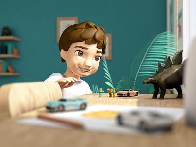 Playtime 3d model render kid child bedroom toys toy boy character model c4d cinema 4d illustration 3d