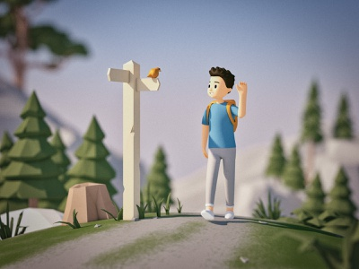 Mountain Walk low poly lowpoly illustration render path signpost rig walk nature hike bird character model 3d cinema 4d c4d