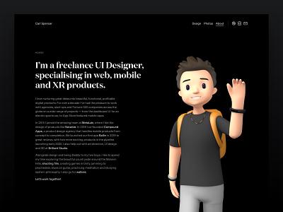 Portfolio Update | About avatar character cinema 4d c4d 3d about portfolio mobile responsive css web