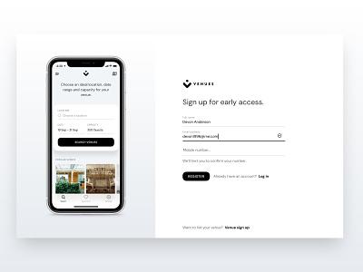 Venues | Web Signup venues venue app sign up signup design web