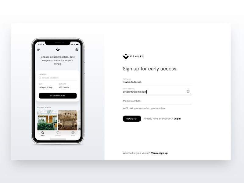 Venues   Web Signup venues venue app sign up signup design web