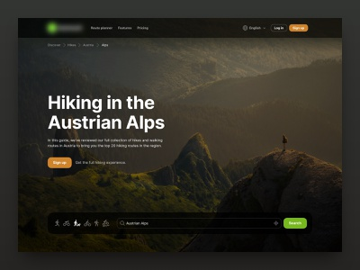 Hiking Guides | Article Banner design web search banner article ui trek walk hiking hike