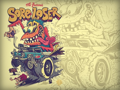 Chicken over Friar rat fink ed roth friar padres baseball loser design san diego hot rod illustration