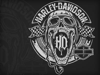 Harley-Davidson Crest skull black harley crest design illustration motorcycle