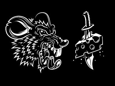 Rat & Cheese rat eat cheese vector illustration black white teeth sword