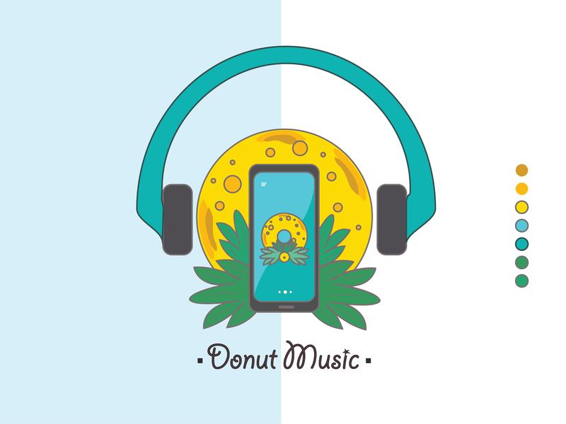 Donut Music clean lettering minimal illustrator branding type logo typography vector icon illustration design