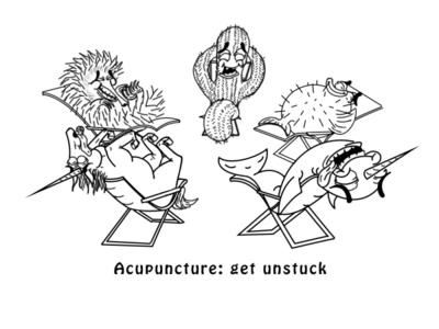 ACUPUNTURE: Get Unstuck (2nd) logotype logodesign cartoon illustration cartooning brand brand design branding illustration line art cartoon character design photoshop cartoon logo