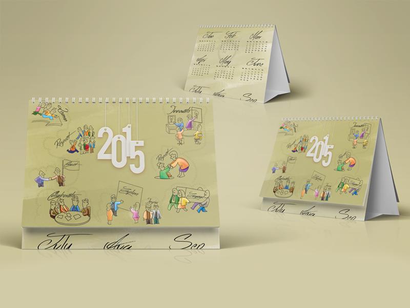 Desk Calendar 2015 learn respect encourge innovation motivation illustration desk week date month 2015 calendar