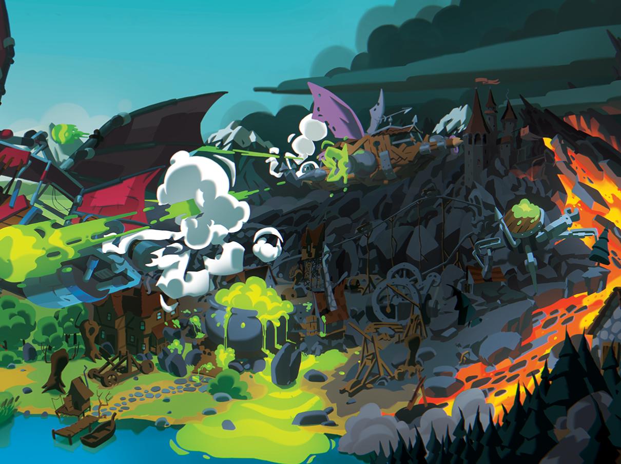 Fantasy Landscape witches painting lava worlds photoshop cartoon illustration landscape fantasy