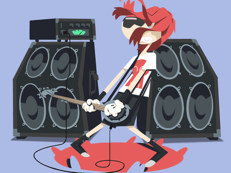 Character design concept art photoshop dog amp tv series character guitar