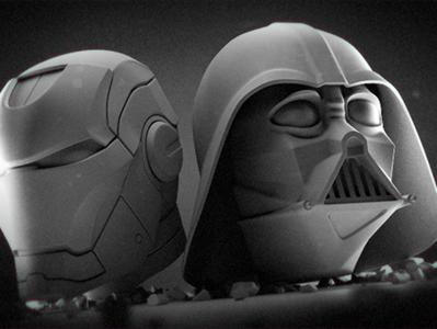 Some models still 3d animation 3d iron man darth vader helmets render character