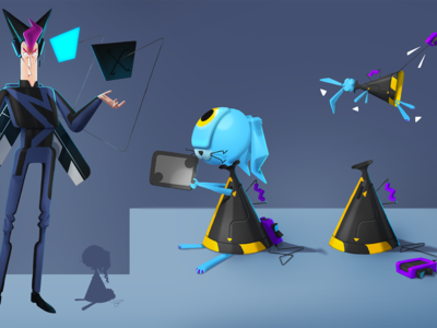 Character and his sidekick design photoshop 3d animation 3d styleframe illustration character animation
