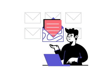 Contact Us purple pink website contact mail character affinity designer vector linear illustration flat 2d