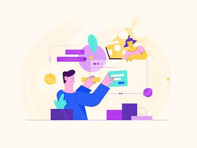Teamwork management linear design remote teamwork team working illustration colorfull character affinity designer vector flat