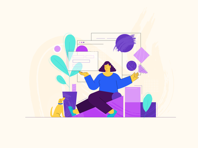Growth vector 2d illustration it work product colorful linear affinity designer flat code character