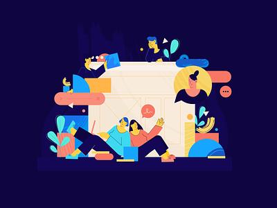 Teamwork linear work webdesign digital ui chat website teamwork character flat 2d illustration
