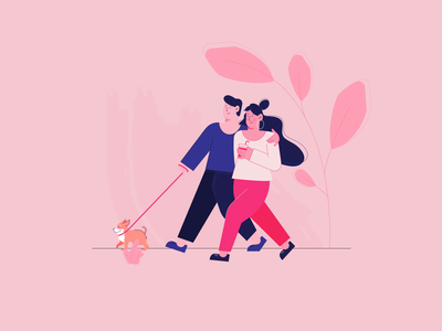 Walking around editorial design freehand flat illustration walk dog pink vector character design character 2d affinity designer