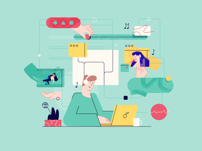 Free time in web illustration friends design webdesign music films free time flat ui character vector 2d