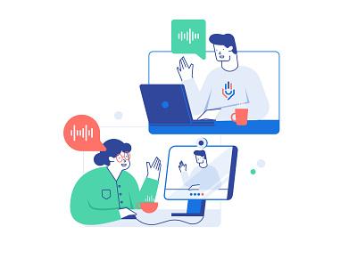 Digital Coffee vector flat helper meeting ux work ui linear illustration character 2d