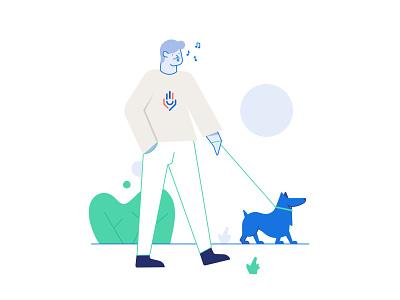 Walking with a dog help center goodify affinity designer vector park line helper linear dog help flat 2d character