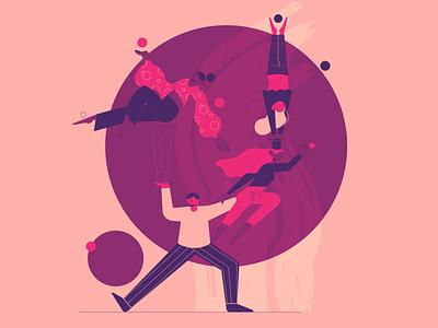Circus 2d design ui purple tricks flat vector character design hero image circles acrobats circus