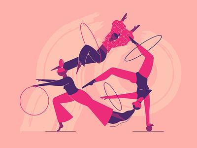 Hula hoop girls teamwork ui affinity designer figure pink circles linear girls gymnastics flat circus 2d character