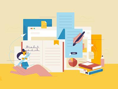 Illustration for Wattpad design ux flat ui linear illustration writing app write books document words wattpad publish website