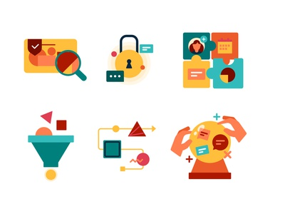 Icons set for Sinch analytics integration hassle-free future-proof increase conversion prevent graud automate business icons graphic design design ui vector 2d illustration flat