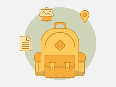 Flat backpack icon flat