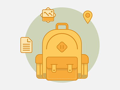 Flat backpack icon flat