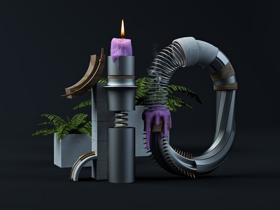 10 candle typographie type c4d