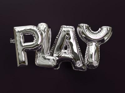 Play balloon metalic chrome inflate design typography type