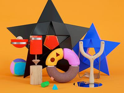Toy set render octane design cover cinema4d c4d 3d