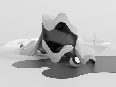 ELEMENTS 2/3 white black gray cgi 3d c4d