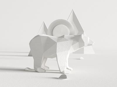 Bear illustration cgi white gray octane render cinema4d design 3d c4d