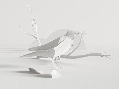 CROW gray illustration black white render octane cinema4d design c4d 3d