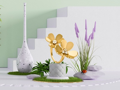 Van Cleef & Arpels Tryptique part 1 object illustration render cinema4d octane c4d cgart cgi 3d animation 3d artist design 3d jeweler