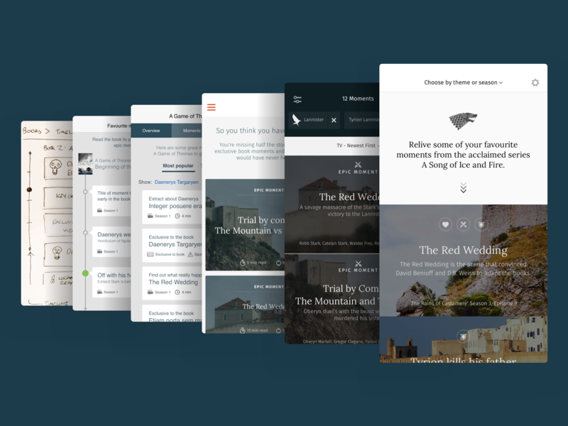 Sketches > Wireframes > Visuals game of thrones visual design ui app ios sketches process