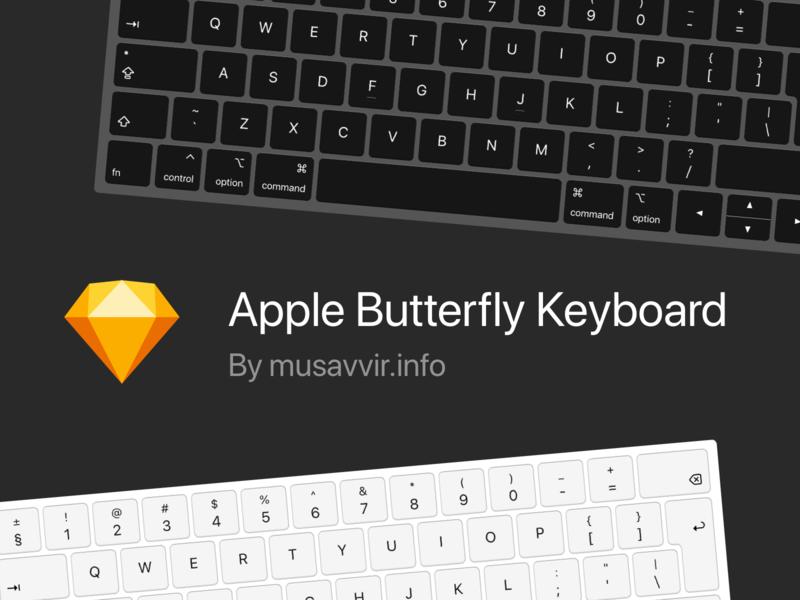 Apple Butterfly Keyboard for Sketch freebie free sketch butterfly keyboard macbook apple butterfly keyboard