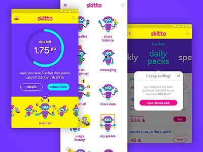 Skitto App Navigation horizontal scrolling scrollbar menu navigation scrolling swiping swipe