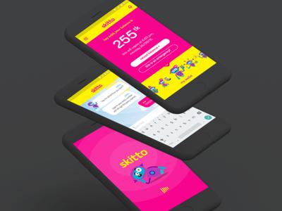 Skitto App Homescreen app home user journey user conversion mobile operator telco chatbot splashscreen onboarding