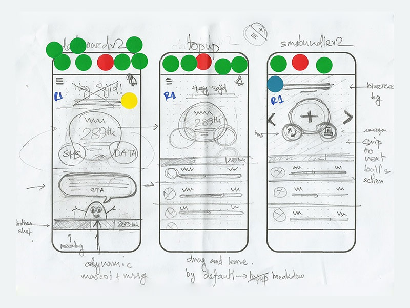 Skitto mobile app dribbble 6 pencil sketch