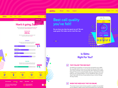Skitto Web Selfcare UI pink pop neon ux dhaka high contrast vibrant telecom app selfcare