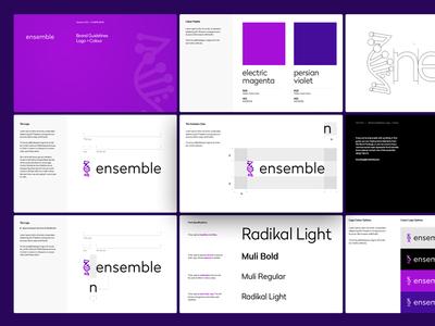 Ensemble Brand Guideline genetics gene helix genealogy swarm style guide branding logo cancer medtech artificial intellegence ai