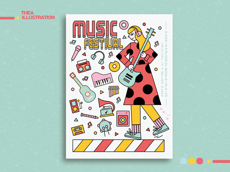 Doodle-音乐节海报 draw color ui flat illustration design