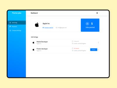 Flutterjobs.io Admin dashboard