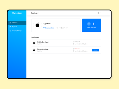Flutterjobs.io Admin dashboard blue website job application job listing jobs payments dashboad admin dashboard admin panel admin colors ux ui app